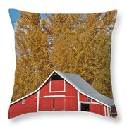 Red Barn And Fall Colors Throw Pillow