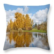 Red Barn And Fall Colors Reflected In A Pond Throw Pillow