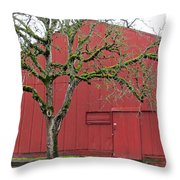 Red Barn And Green Tree In Dundee Hills Oregon Wine Country Throw Pillow
