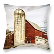 Red Barn And Silo Vermont Throw Pillow