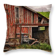 Red Barn And Truck In The Palouse Throw Pillow