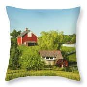 Red Barn And Water Mill On Farm In Maine Throw Pillow