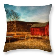Red Barn At Twilight Throw Pillow