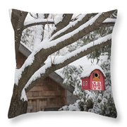 Red Barn Birdhouse On Tree In Winter Throw Pillow