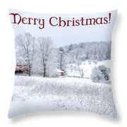 Red Barn Christmas Card Throw Pillow