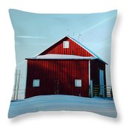 Red Barn During Illinois Winter Throw Pillow by Luther Fine Art
