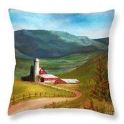 Red Barn Hillside Farm Throw Pillow