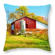 Red Barn In Autumn Throw Pillow