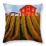 Red Barn In Autumn Vineyards Throw Pillow