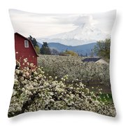 Red Barn In Hood River Pear Orchard Throw Pillow