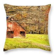 Red Barn In Late Fall Throw Pillow