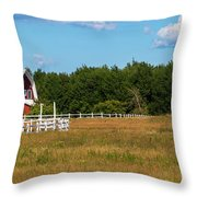 Red Barn In Meadow, Knowlton, Quebec Throw Pillow