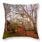 Red Barn In The Smokies Throw Pillow