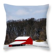 Red Barn In The Snow Throw Pillow