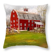 Red Barn In Woodstock Vermont- Red Barn Art Throw Pillow