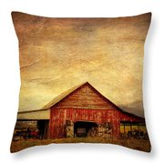Red Barn  Throw Pillow by Joan McCool
