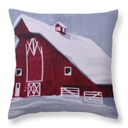 Red Barn Throw Pillow by Kathy Weidner