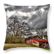 Red Barn On The Boswell Farm Throw Pillow