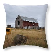 Red Barn On The Hill Throw Pillow