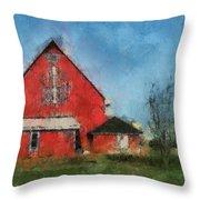 Red Barn Rear View Photo Art 03 Throw Pillow