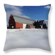 Red Barn Series Feat. Snow Throw Pillow