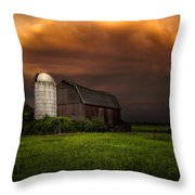 Red Barn Stormy Sky - Rustic Dreams Throw Pillow