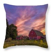Red Barn Sunset 2 Throw Pillow