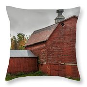 Red Barn With Fall Colors Throw Pillow