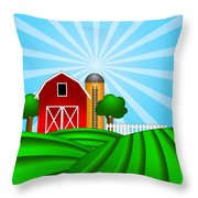 Red Barn With Grain Silo On Green Pasture Illustration Throw Pillow