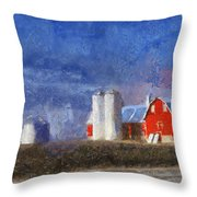 Red Barn With Silos Photo Art 02 Throw Pillow