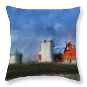 Red Barn With Silos Photo Art 03 Throw Pillow