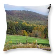 Red Barns And Mountains Throw Pillow