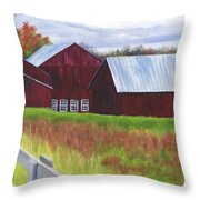 Red Barns At Freehold Throw Pillow