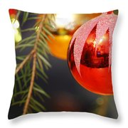 Red Bauble - Available For Licensing Throw Pillow