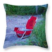 Red Beach Chair Throw Pillow