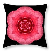 Red Begonia I Flower Mandala Throw Pillow