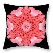 Red Begonia II Flower Mandala Throw Pillow