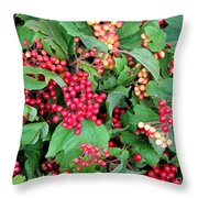 Red Berries And Green Leaves Throw Pillow