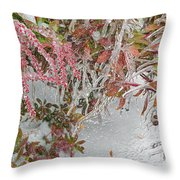 Red Berries Over Snow Throw Pillow