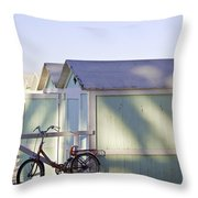 Red Bicycle At Mondello Beach Throw Pillow