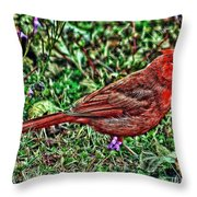 Red Bird Art Throw Pillow