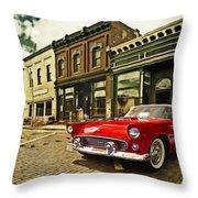 Red Bird On Main Street Throw Pillow
