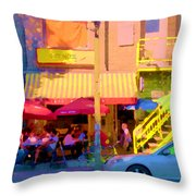 Red Bistro Umbrellas Cafe Cote Soleil Rue St Denis Yellow Staircase Montreal Scenes Carole Spandau Throw Pillow