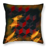 Red Black Blocks Abstract Throw Pillow
