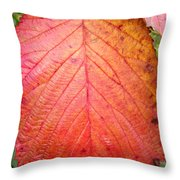 Red Blackberry Leaf Throw Pillow