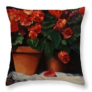 Red Bloom In Terracotta Throw Pillow