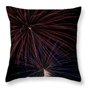 Red Blue Fireworks Throw Pillow