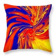 Red Blue Orange Red Yellow Swirl Throw Pillow