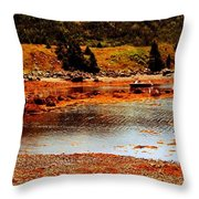 Red Boat At Low Tide Triptych Throw Pillow