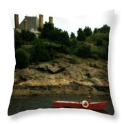 Red Boat In Newport Throw Pillow